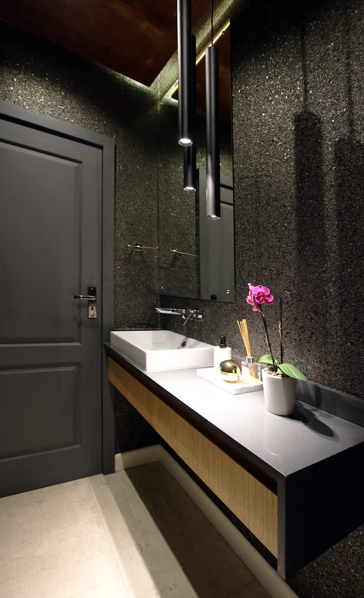 Guest Toilet:  Bathroom by JSD Interiors, Modern Engineered Wood Transparent