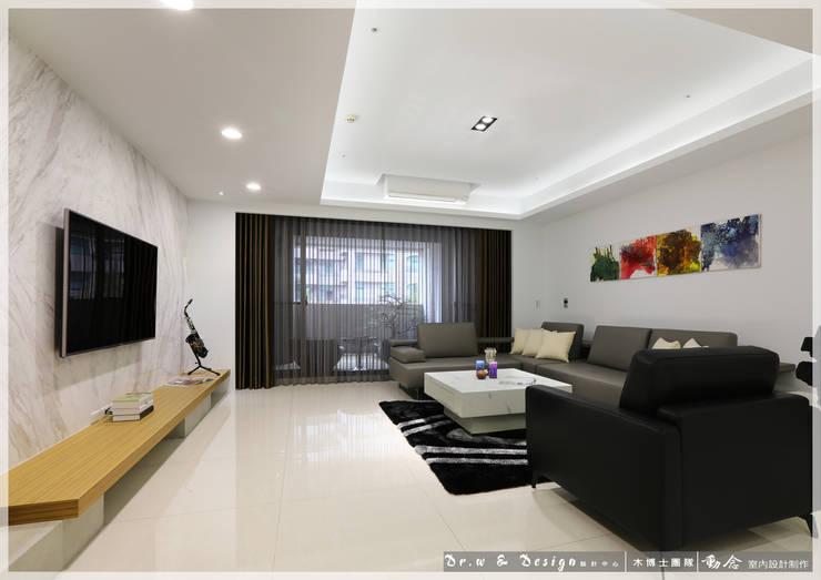 客廳/大理石/休閒風:  客廳 by 木博士團隊/動念室內設計制作