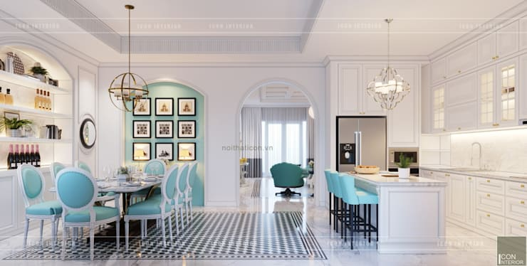 Thiết kế biệt thự theo phong cách Đông Dương - Vẻ đẹp giá trị thời gian:  Nhà bếp by ICON INTERIOR