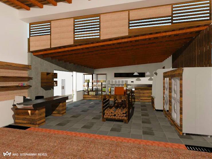 ÁREA DE ACCESO. SECTOR FRÍO- EXPRESS: Tiendas y espacios comerciales de estilo  por Arq Stephanny Reyes