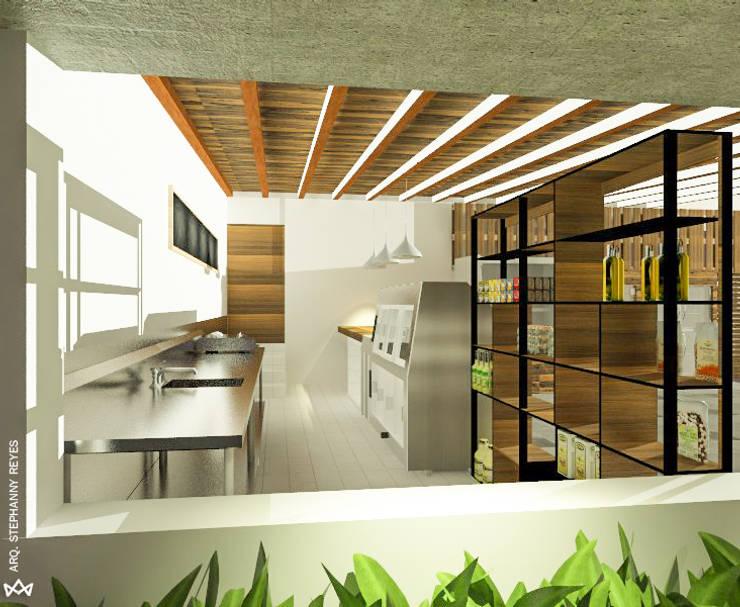 ÁREA DE SERVICIOS DE LA CHARCUTERÍA : Tiendas y espacios comerciales de estilo  por Arq Stephanny Reyes