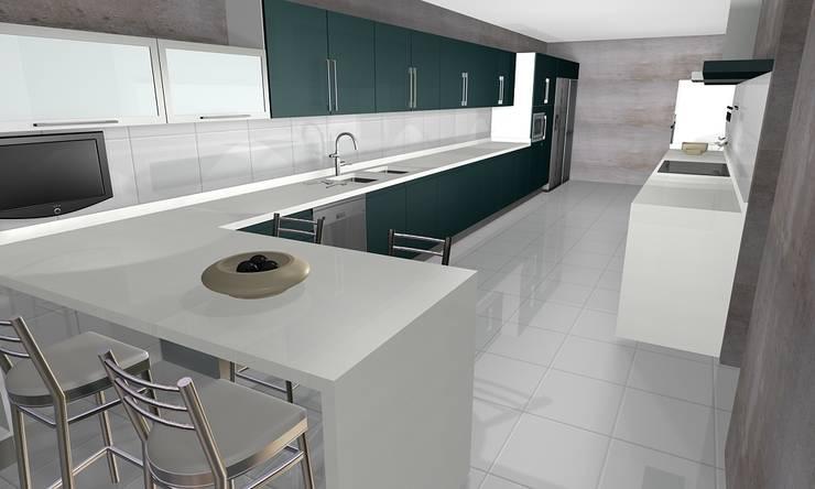 Cocina Tere: Cocinas equipadas de estilo  por R-Innovare / Diseño de interiores y Arquitectura / Santiago y Viña del mar