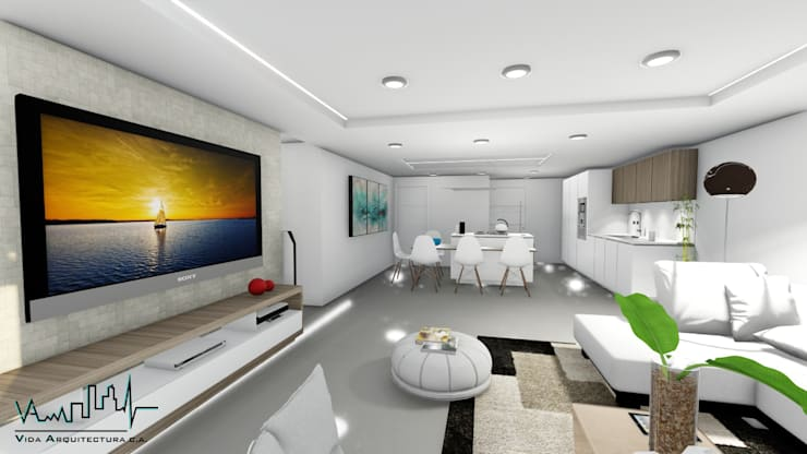 Remodelacion y diseño interior para apartamento: Sala multimedia de estilo  por Vida Arquitectura