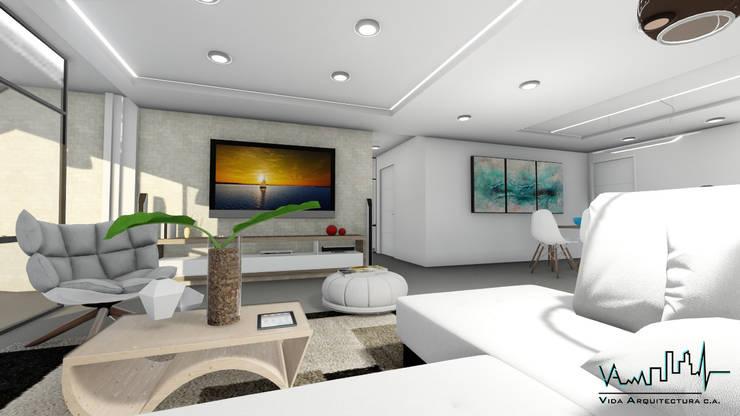 Remodelacion y diseño interior para apartamento: Salas/Recibidores de estilo moderno por Vida Arquitectura