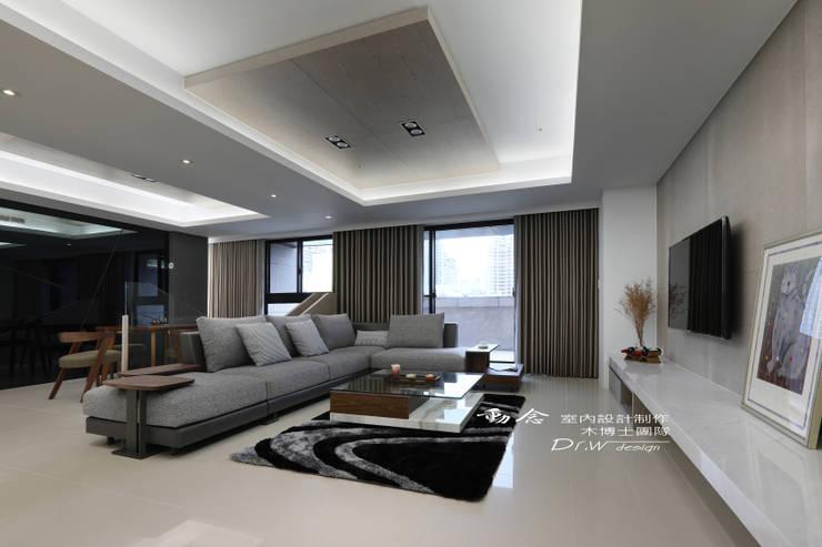 客廳/天花板/大理石/現代風:  客廳 by 木博士團隊/動念室內設計制作