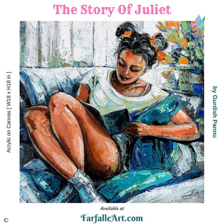 The Story Of Juliet: modern  by FarfalleArt.com,Modern Cotton Red