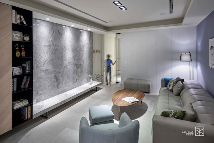大理石牆面:  客廳 by 禾廊室內設計