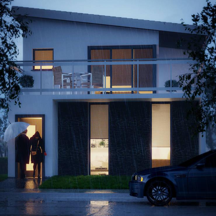 Rainy Evening:  Single family home by Zero Point Visuals