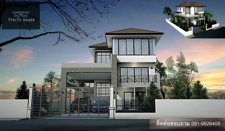 บ้าน 3 ชั้น โมเดิร์นกับเหล็กดัดอิตาลี:   by PRECIO HOUSE