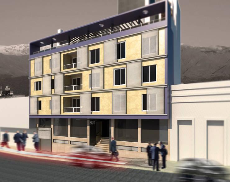 EDIFICIO DE OFICINAS: Estudios y oficinas de estilo  por MVQ ARQUITECTOS