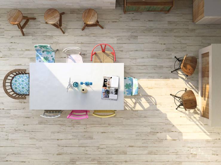 Cerámica tipo madera: Paredes y pisos de estilo  por Kavana Revestimientos