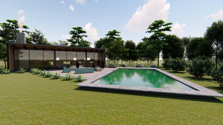 Diseño de Quincho + Piscina por CIVCO: Piscinas de jardín de estilo  por Civco Ltda