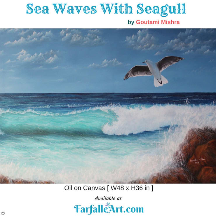 Sea Waves With Seagull: tropical  by FarfalleArt.com,Tropical Cotton Red