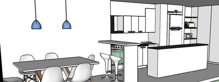 REMODELACION COCINA MILENICA UNIVERSITARIO: Cocinas de estilo  por maria eugenia sayago arquitecta interiorista,