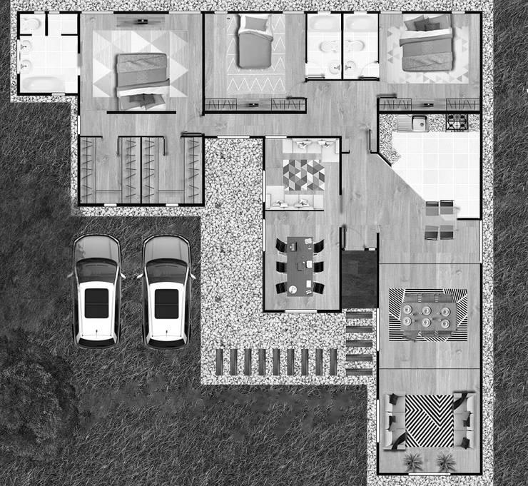 Planta de Arquitectura:  de estilo  por Estudio Arquitectura y construccion PR/ Arquitectura, Construccion y Diseño de interiores / Santiago, Rancagua y Viña del mar