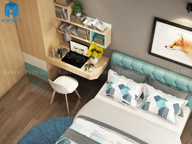 Phòng ngủ khá đơn giản với gam màu chủ đạo là xám của tường và nâu vàng của tủ đồ:  Phòng ngủ by Công ty TNHH Nội Thất Mạnh Hệ