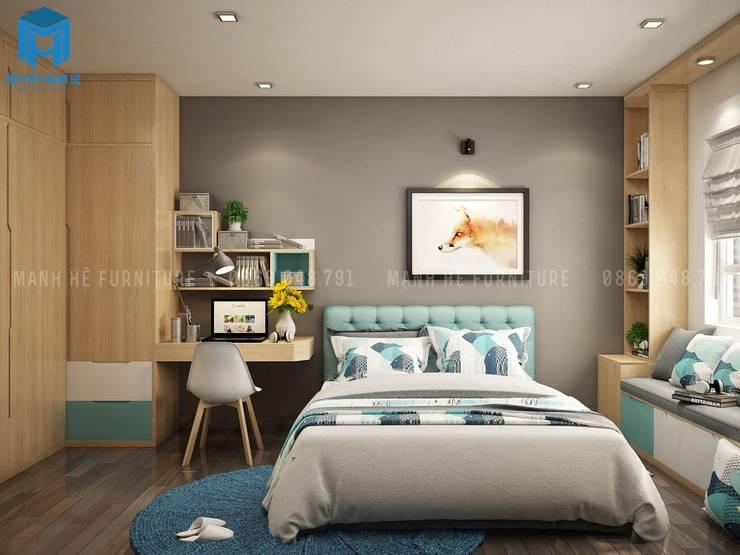 Phòng ngủ khá đơn giản với gam màu chủ đạo là xám của tường màu xanh và nâu vàng của tủ đồ:  Phòng ngủ by Công ty TNHH Nội Thất Mạnh Hệ