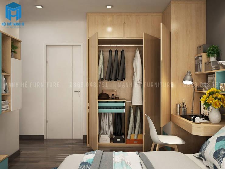 Phòng ngủ khá đơn giản với gam màu chủ đạo nâu vàng của tủ đồ:  Phòng ngủ by Công ty TNHH Nội Thất Mạnh Hệ