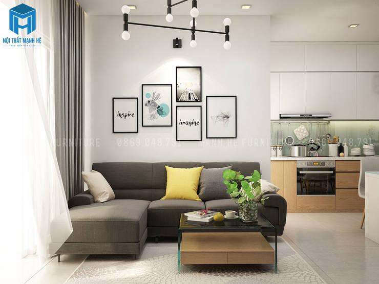 Phòng khách khá hài hòa với các gam màu sáng nhưng lại không hề mất đi nét sang trọng cùng sự ấm áp cần có của mỗi căn hộ:  Phòng khách by Công ty TNHH Nội Thất Mạnh Hệ