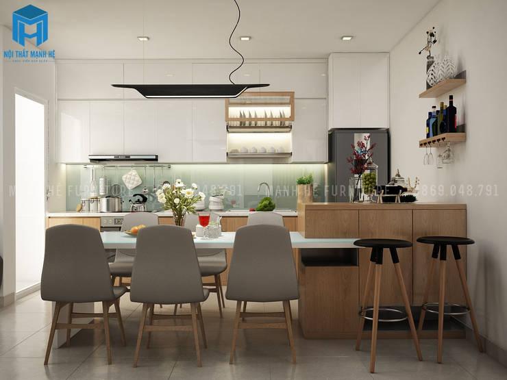 Không gian toàn bộ nội thất bếp cũng như bàn ăn:  Phòng ăn by Công ty TNHH Nội Thất Mạnh Hệ