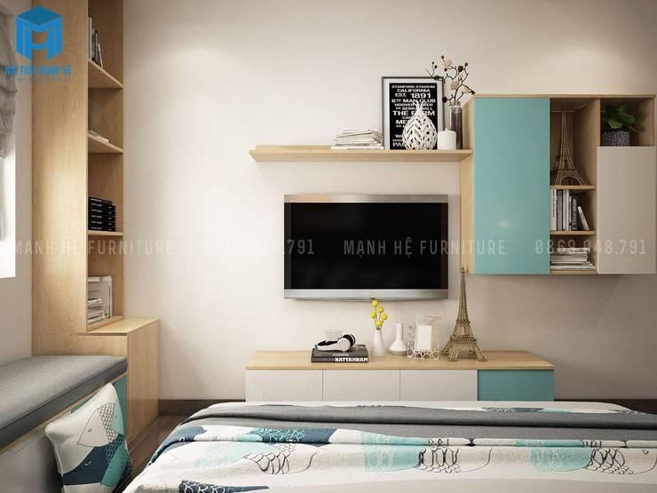 Kệ tivi phòng ngủ khá đơn giản với gam màu phối xanh độc đáo:  Phòng ngủ by Công ty TNHH Nội Thất Mạnh Hệ