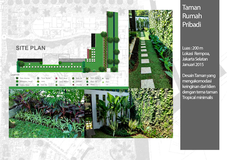 Taman Rumah Pribadi, Tanggerang:  Halaman depan by Bengkel Tanaman
