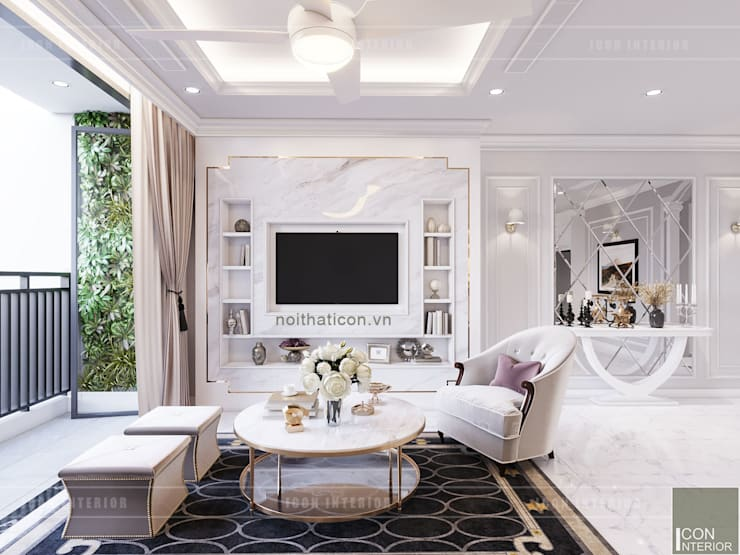 Thiết kế căn hộ Landmark 2 Vinhomes Central Park – Phong cách Tân Cổ Điển:  Phòng khách by ICON INTERIOR