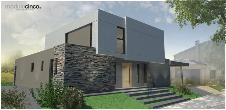   FACHADA FRONTAL: Casas unifamiliares de estilo  por modulo cinco arquitectura