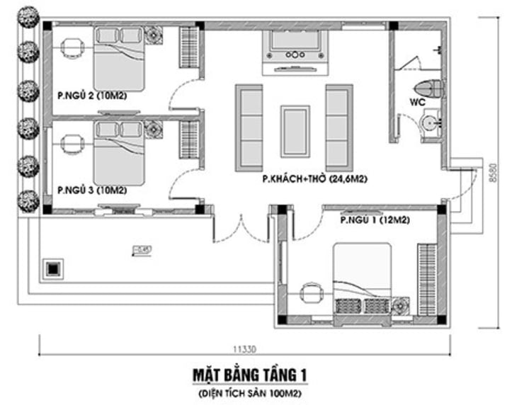 Bản vẽ nhà cấp 4 3 phòng ngủ 1 phòng thờ truyền thống:   by Công Ty Wedo