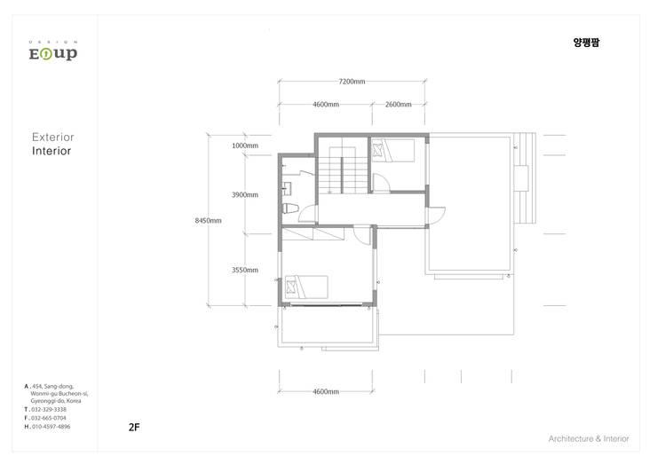주택-평면도2F: 디자인 이업의  거실,모던 우드 + 플라스틱