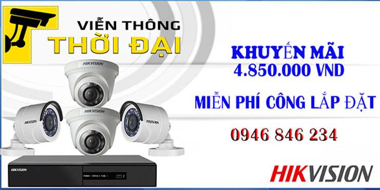 trọn bộ 4 camera hikvision giá rẻ: Piscinas de estilo  por vienthonthoidai