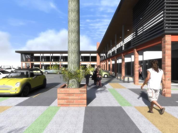 STRIPCENTER MELIPILLA ORIENTE: Pasillos y hall de entrada de estilo  por Vicente Espinoza M. - Arquitecto