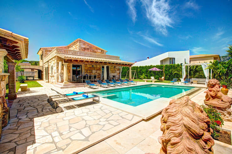 Diseño y construcción de una villa en Mallorca por Diego Cuttone: Casas rurales de estilo  de Diego Cuttone, arquitectos en Mallorca