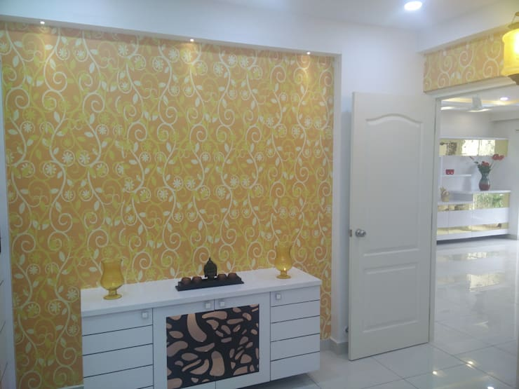 Mr Surajit Aparna cyberzone 3bhk :  Bedroom by Enrich Interiors & Decors