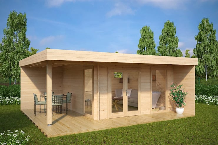 Modern Summer House Hansa Lounge XL with Veranda:  Log cabin by Summerhouse24