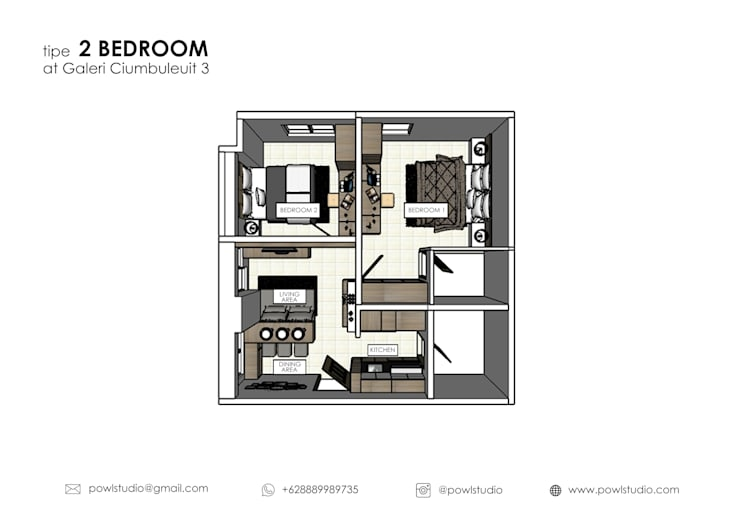 Galeri Cimbuleuit 3 Type 2 Bedroom Maple:   by POWL Studio