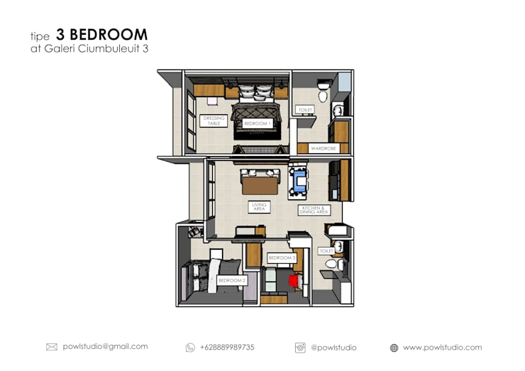 Galeri Ciumbuleuit III – Tipe 3 bedroom:   by POWL Studio