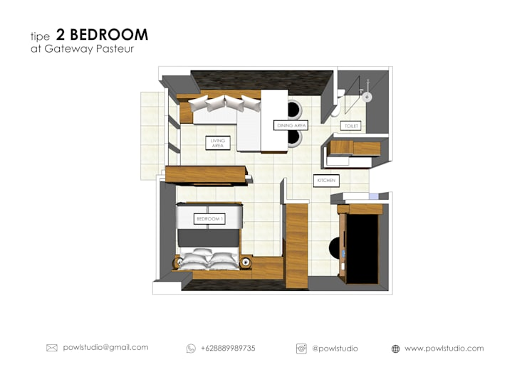 Gateway Pasteur - Tipe 2 Bedroom Jade:   by POWL Studio