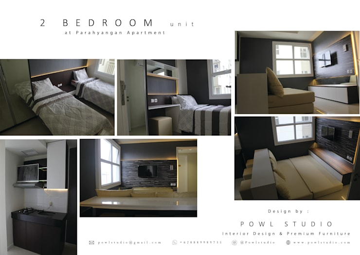 Parahyangan Residence 12 CH - Type 2 Bedroom:   by POWL Studio