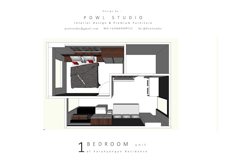 Parahyangan Residence Tipe 1 Bedroom:   by POWL Studio