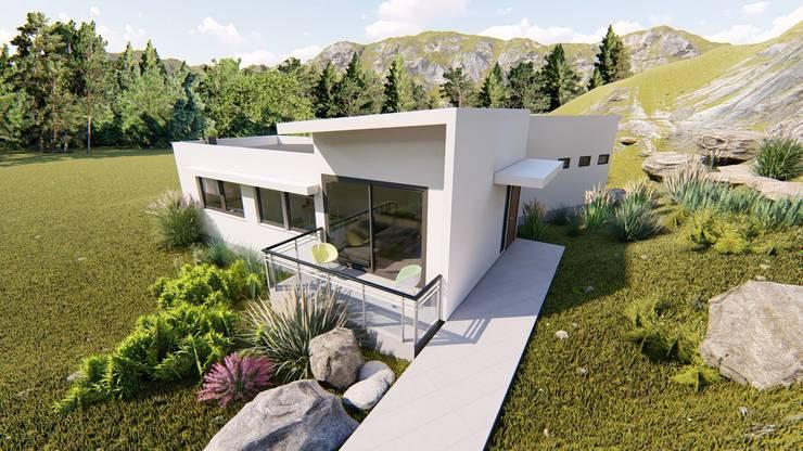 fachada y acceso : Chalets de estilo  por Ekeko arquitectura