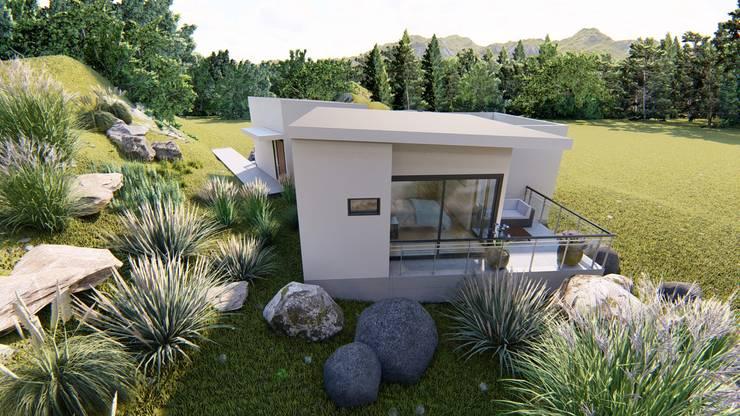 fachada posterior hacia terraza dormitorio principal: Parcelas de agrado de estilo  por Ekeko arquitectura