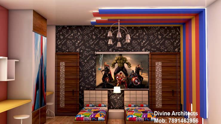 Kids room interior design for mr. Ramavtar Khunteta jalmahal site joraver Singh gate govind nagar east Jaipur:  Nursery/kid's room by divine architects