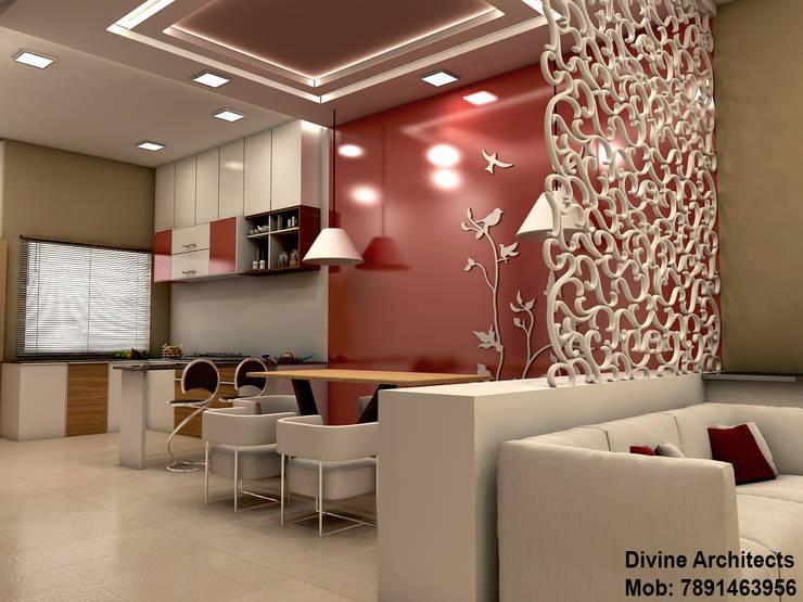 Villa Interior design for mr. Divyarth duveymahindra sez ajmer road jaipur:  Living room by divine architects
