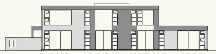 ELEVACION ORIENTE:  de estilo  por Cota Cero Arquitectos