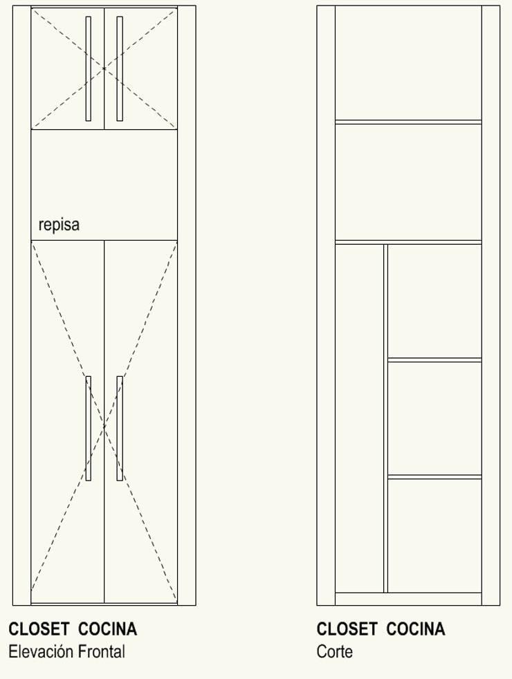 Closet Cocina:  de estilo  por Cota Cero Arquitectos