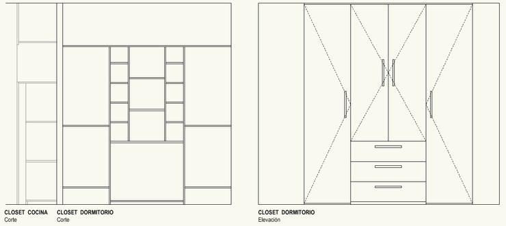 Closet Dormitorio:  de estilo  por Cota Cero Arquitectos