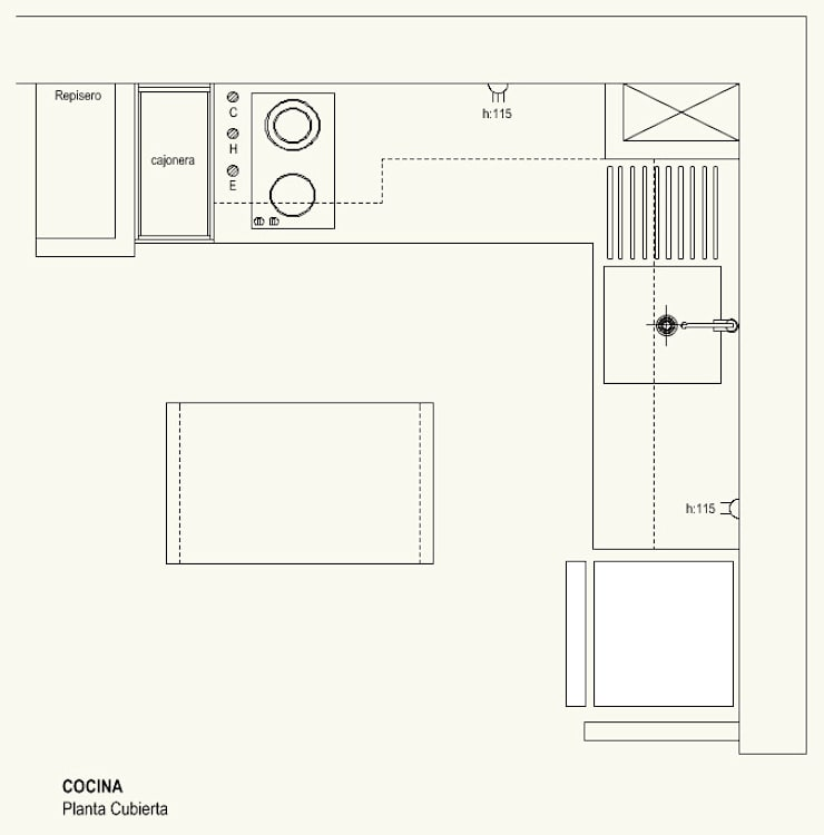 Cocina Cubierta:  de estilo  por Cota Cero Arquitectos