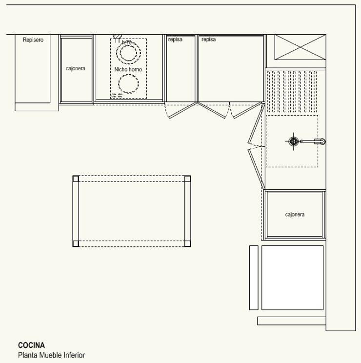 Cocina Mueble Inferior:  de estilo  por Cota Cero Arquitectos