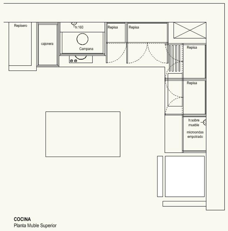 Cocina Mueble Superior:  de estilo  por Cota Cero Arquitectos
